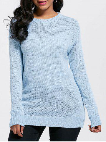 Light Blue One Size Tunic Chunky Sweater | RoseGal.com