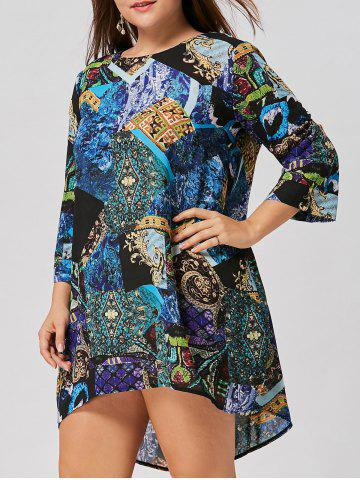 Shops Tribal Print Plus Size Asymmetric Dress