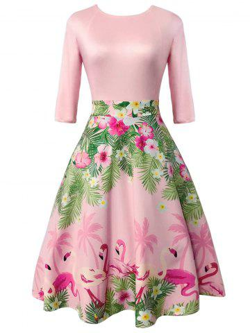 Outfit Floral and Flamingo Print Vintage Dress LIGHT PINK L