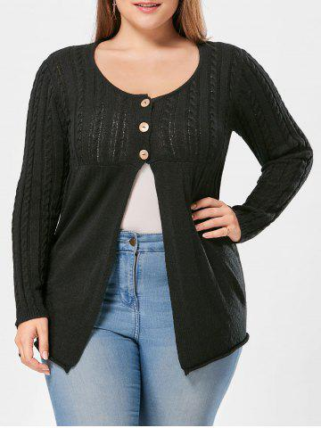 Chic Plus Size Button Detail Cable Knit Cardigan BLACK 2XL