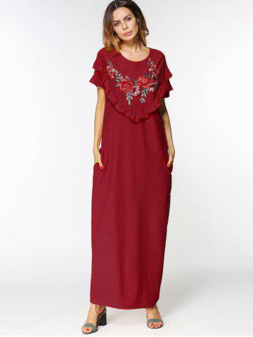 Latest Floral Embroidered Ruffles Maxi Dress WINE RED 2XL