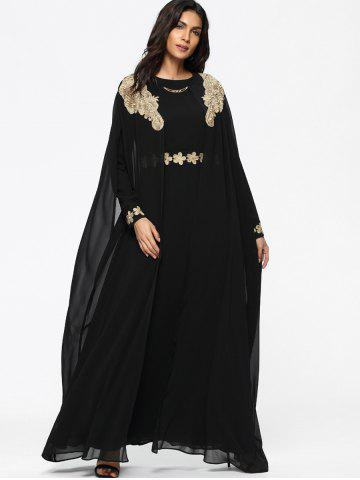 Cape Embroidered Long Sleeve Maxi Dress