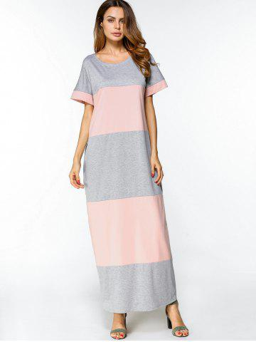 Store Two Tone Casual Maxi Tee Dress - M PINK AND GREY Mobile
