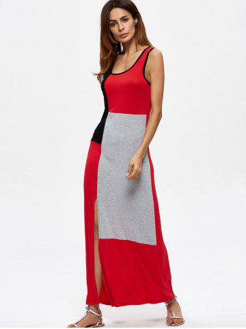 Hot Contrasting Sleeveless Slit Maxi Dress - L MULTICOLOR Mobile