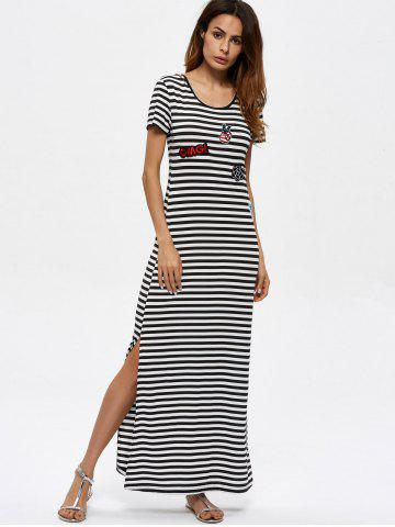 Chic Stripes Patched Slit Maxi Dress
