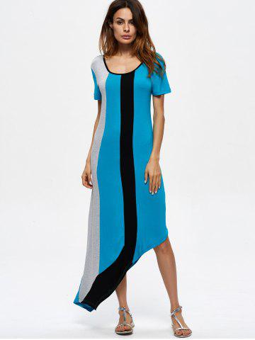 Fashion Contrasting Casual Asymmetrical Maxi Dress