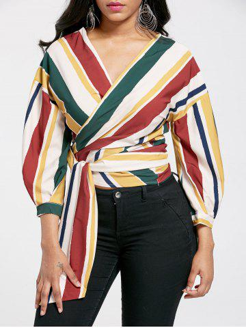 Striped Drop Shoulder Wrap Blouse
