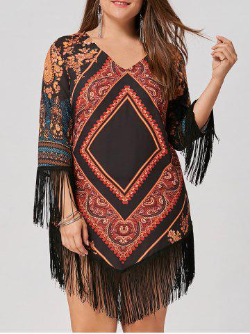 Hot Chiffon Tassel Plus Size Tribal Printed Dress