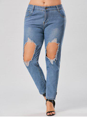 Chic Plus Size Distressed Hole Boyfriend Jeans