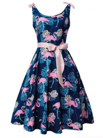 Outfits Flamingo and Monstera Print Vintage Cocktail Dress