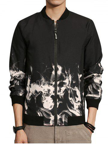 Shops Flame Print Zip Up Bomber Jacket