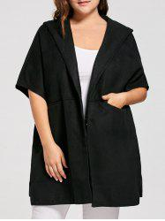 Plus Size Woolen Blend Hooded Poncho Coat