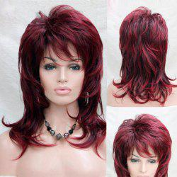 Long Side Bang Fluffy Layered Slightly Curly Synthetic Wig