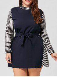 Striped Asymmetrical Belted Plus Size Dress