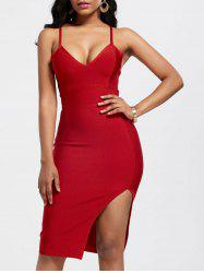 V Neck Slip Front Slit Bandage Dress