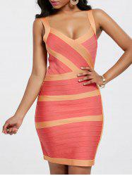 Bodycon V Neck Two Tone Bandage Dress