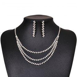 Layered Rhinestone Necklace and Earrings - SILVER
