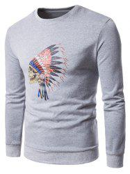 Skull Chief Print Crew Neck Fleece Sweatshirt