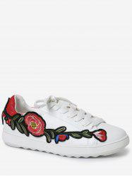 Embroidery Round Toe Faux Leather Sneakers - RED