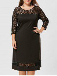 Casaul Sheath Plus Size Lace Trim Dress