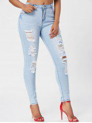 Light Wash Ripped Skinny Jeans - BLUE M