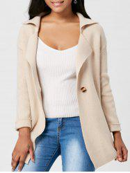 Lapel One Button Knitted Cardigan