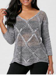 Marled V Neck Openwork Sweater -