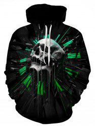 3D Skull Graphic Print Pullover Hoodie