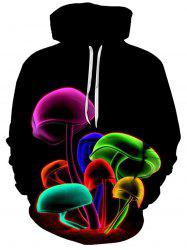 Colorful 3D Mushroom Print Hoodie - BLACK