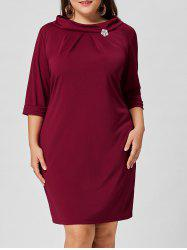 Brooch Boat Neck Plus Size Dress