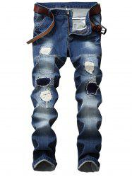 Patch Design Straight Leg Ripped Jeans