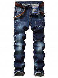 Suture Straight Leg Ripped Jeans