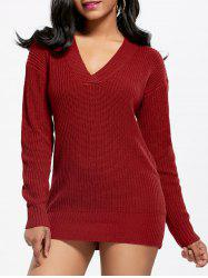 V Neck Shift Tunic Sweater Dress -