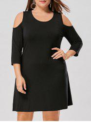 Plus Size Open Shoulder Tee shirt Dress