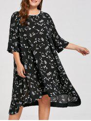 Plus Size Music Note Print Midi Dress
