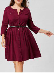 Belted Button Up Pocket Plus Size Dress