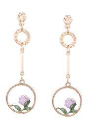 Long Earrings with Flower Hoop Pendant