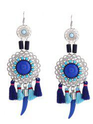 Hollow Flower Tassel Embellished Fish Hook Earrings