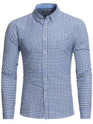 Plaid Button Down Embroidered Pocket Shirt