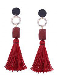 Faux Gem Long Earrings with Tassel Pendant