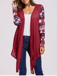 Collarless Long Sleeve Open Front Graphic Cardigan