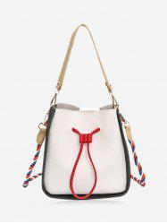 Drawstring Color Block Bucket Bag -