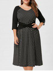 High Waist Plus Size Polka Dot Dress