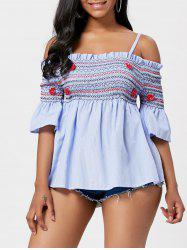 Cold Shoulder Striped Smocked Top
