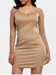 Long Sleeve Mesh Insert Bodycon Mini Dress