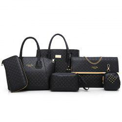 Argyle Pattern 6 Pieces Handbag Set