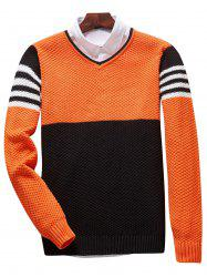Popcorn Knitted V Neck Color Block Sweater