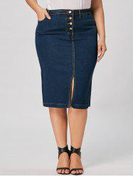 Front Slit Button Up Plus Size Denim Skirt