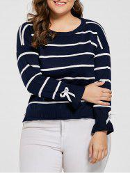 Striped Drop Shoulder High Low Plus Size Sweater