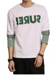 Faux Twinset Graphic Print Stripe Panel Sweatshirt
